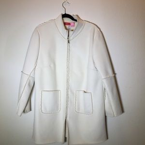 Anne Klein Cream Faux Suede coat with shearling 1x